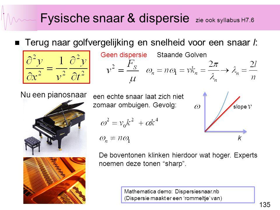 135 Fysische snaar & dispersie zie ook syllabus H7.6 Terug naar golfvergelijking en snelheid voor een snaar l: Staande Golven Geen dispersie een echte snaar laat zich niet zomaar ombuigen.