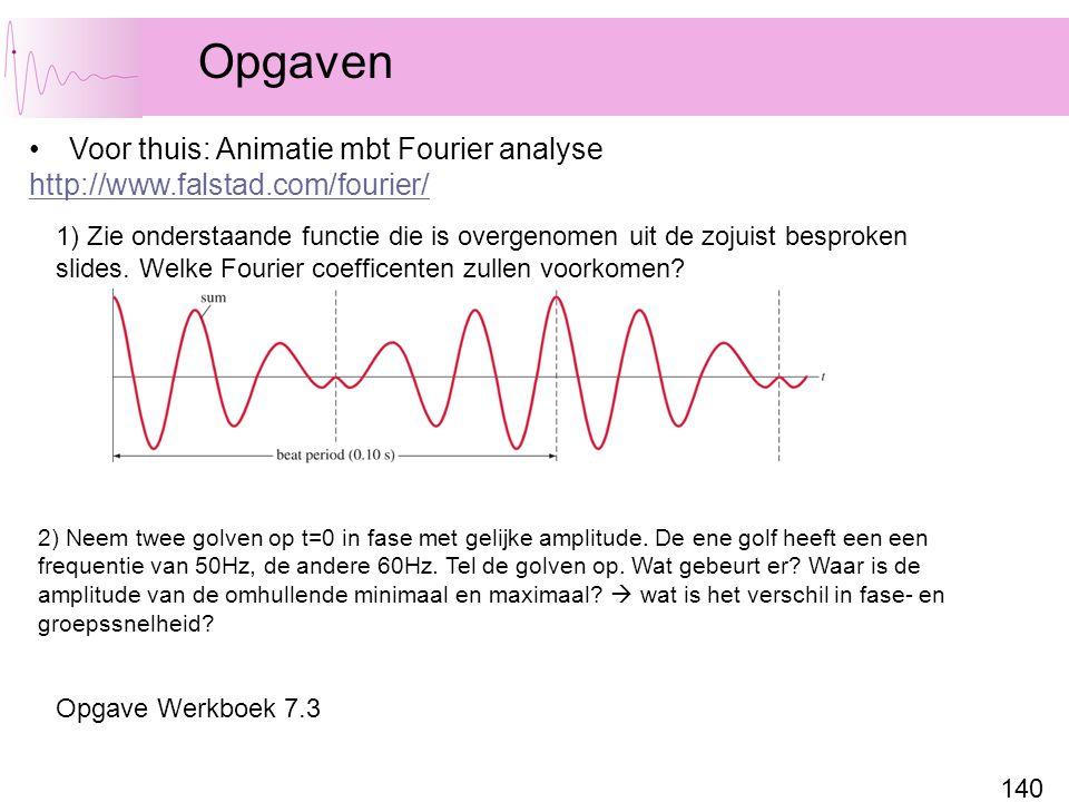 140 Opgaven Voor thuis: Animatie mbt Fourier analyse http://www.falstad.com/fourier/ 1) Zie onderstaande functie die is overgenomen uit de zojuist besproken slides.