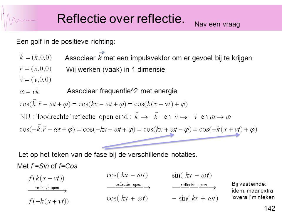 142 Met f =Sin of f=Cos Reflectie over reflectie.