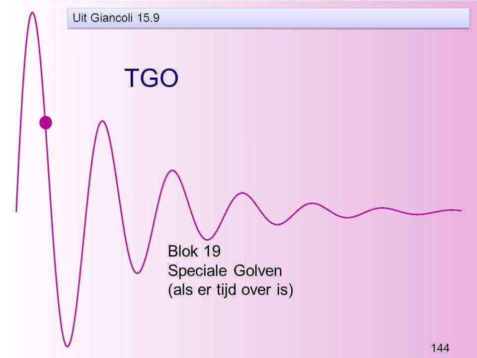 144 TGO Blok 19 Speciale Golven (als er tijd over is) Uit Giancoli 15.9