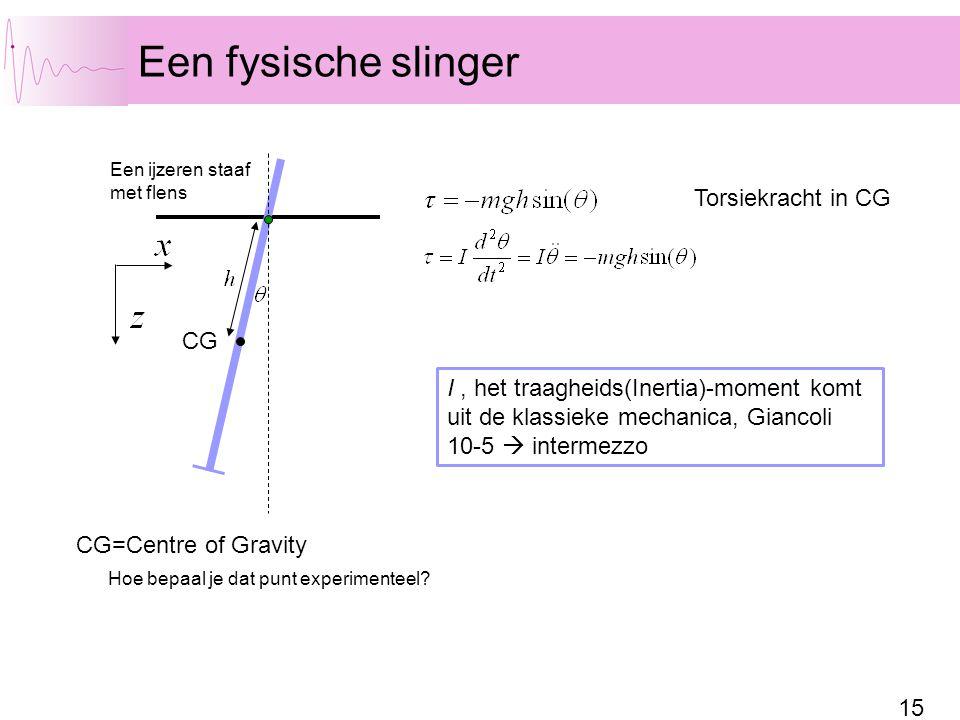 15 Een fysische slinger Een ijzeren staaf met flens CG CG=Centre of Gravity Torsiekracht in CG Hoe bepaal je dat punt experimenteel.