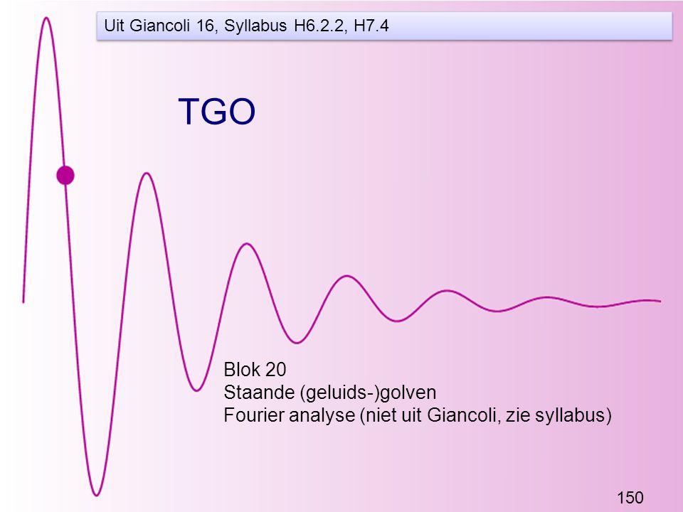 150 TGO Blok 20 Staande (geluids-)golven Fourier analyse (niet uit Giancoli, zie syllabus) Uit Giancoli 16, Syllabus H6.2.2, H7.4
