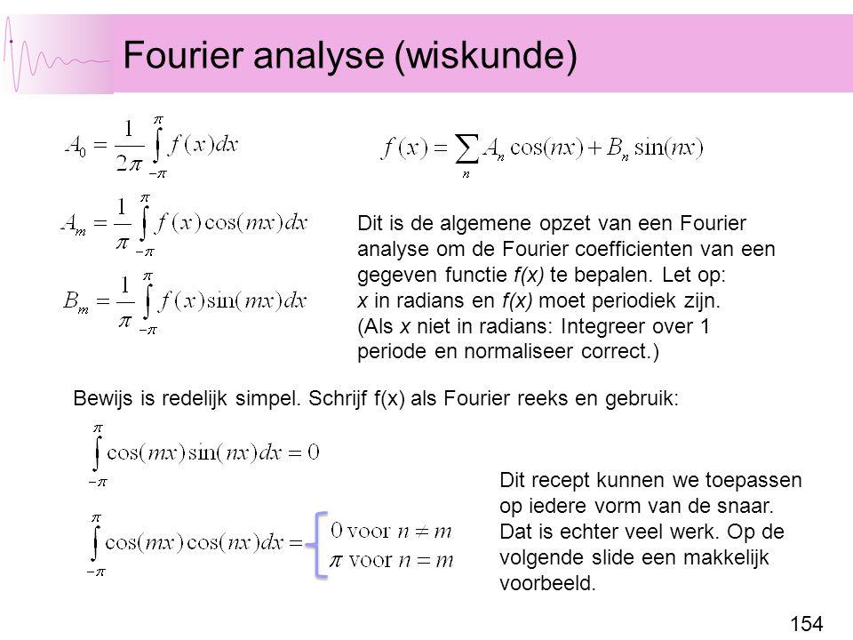 154 Fourier analyse (wiskunde) Dit is de algemene opzet van een Fourier analyse om de Fourier coefficienten van een gegeven functie f(x) te bepalen.