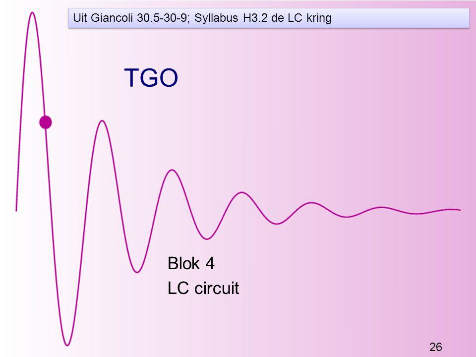 26 TGO Blok 4 LC circuit Uit Giancoli 30.5-30-9; Syllabus H3.2 de LC kring
