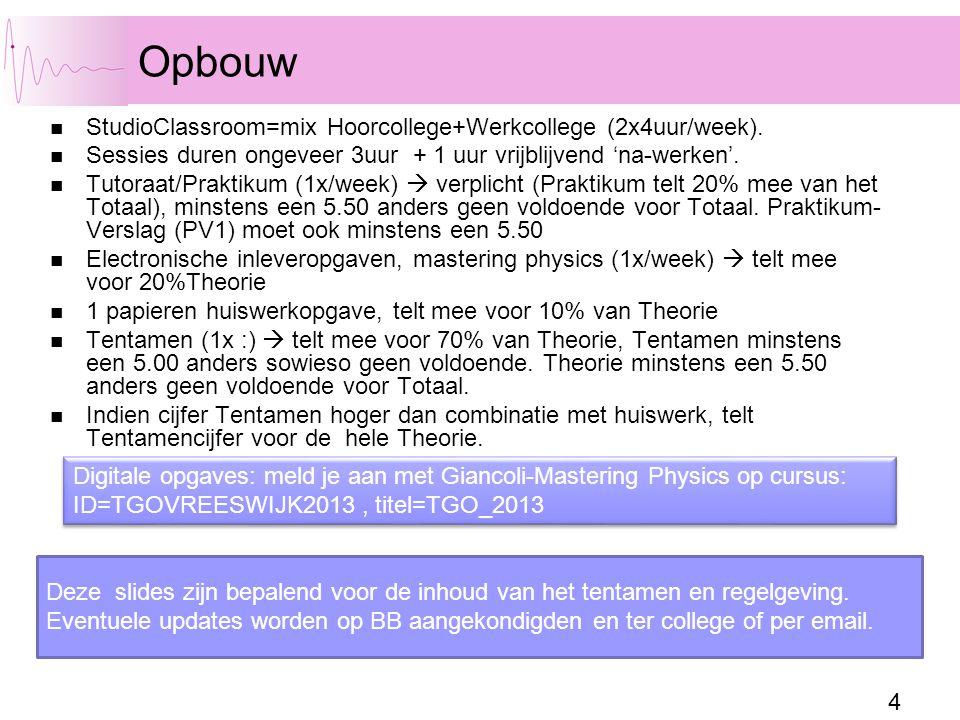 4 Opbouw StudioClassroom=mix Hoorcollege+Werkcollege (2x4uur/week).