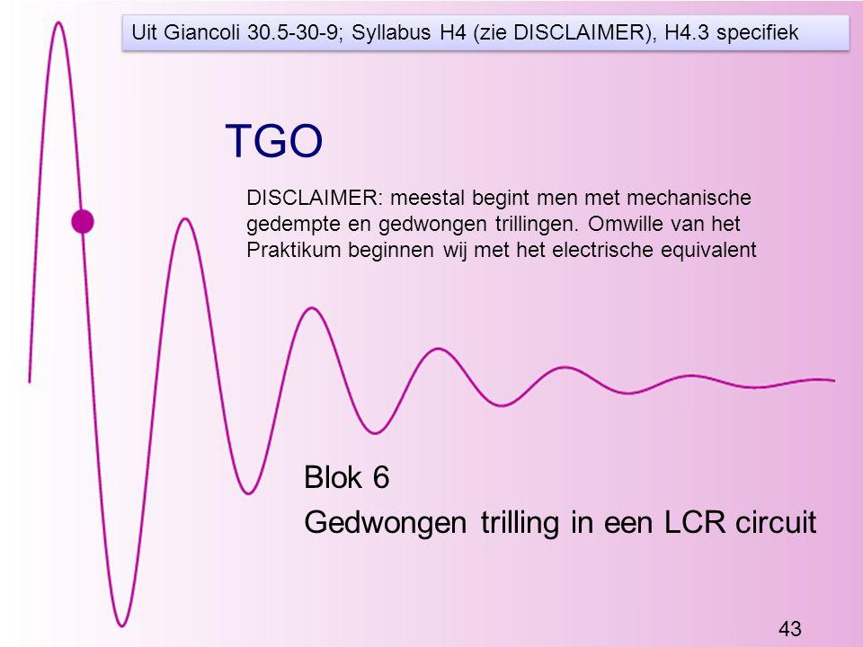 43 TGO Blok 6 Gedwongen trilling in een LCR circuit Uit Giancoli 30.5-30-9; Syllabus H4 (zie DISCLAIMER), H4.3 specifiek DISCLAIMER: meestal begint men met mechanische gedempte en gedwongen trillingen.