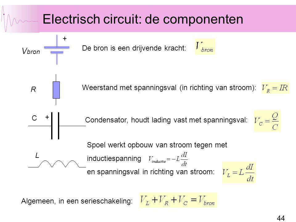 44 Electrisch circuit: de componenten C R V bron + De bron is een drijvende kracht: Weerstand met spanningsval (in richting van stroom): Condensator, houdt lading vast met spanningsval: + Spoel werkt opbouw van stroom tegen met inductiespanning en spanningsval in richting van stroom: Algemeen, in een serieschakeling: L