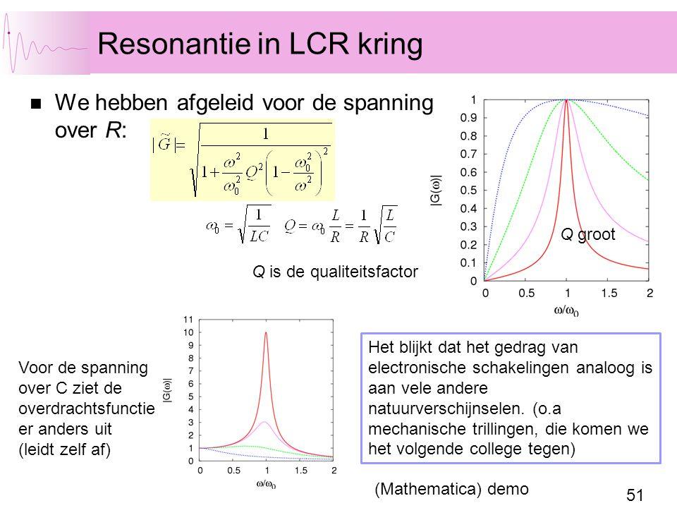 51 Resonantie in LCR kring Q klein Q is de qualiteitsfactor Het blijkt dat het gedrag van electronische schakelingen analoog is aan vele andere natuurverschijnselen.