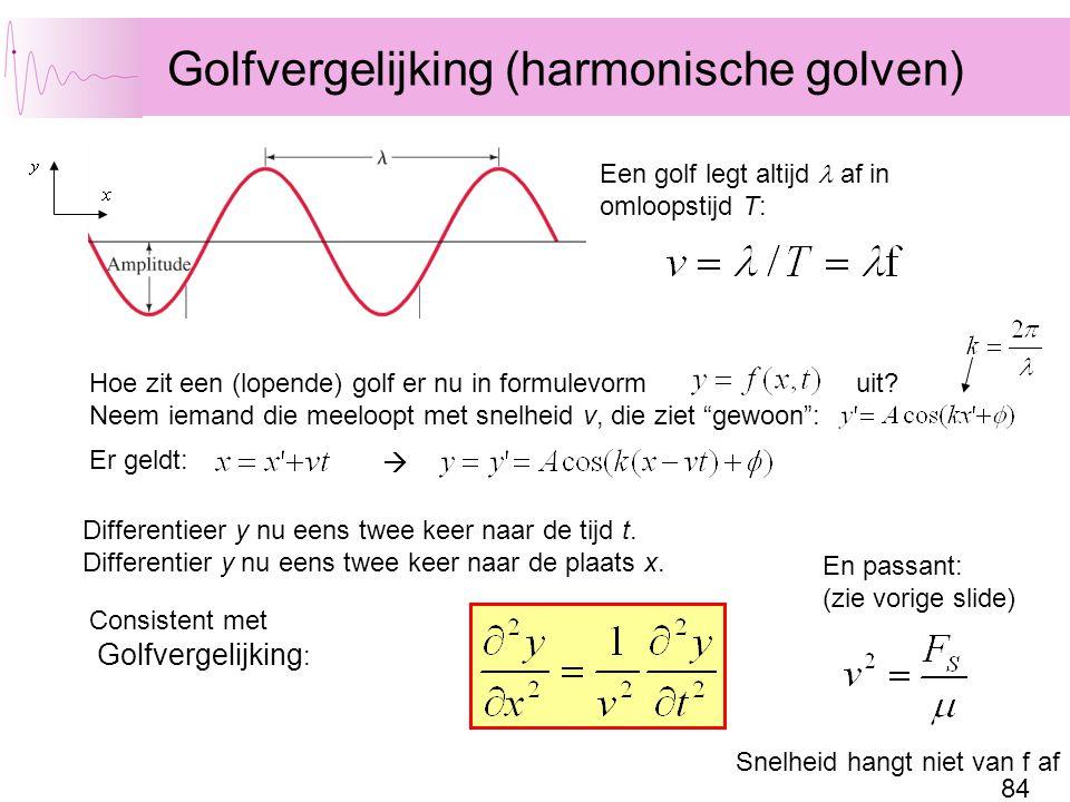 84 Golfvergelijking (harmonische golven) Een golf legt altijd af in omloopstijd T: Hoe zit een (lopende) golf er nu in formulevorm uit.