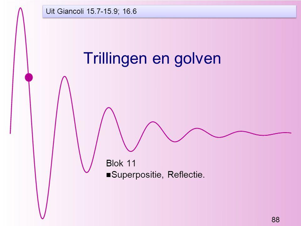 88 Trillingen en golven Blok 11 Superpositie, Reflectie. Uit Giancoli 15.7-15.9; 16.6
