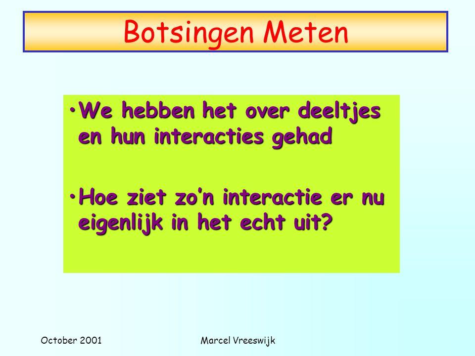 October 2001Marcel Vreeswijk Botsingen Meten We hebben het over deeltjes en hun interacties gehadWe hebben het over deeltjes en hun interacties gehad