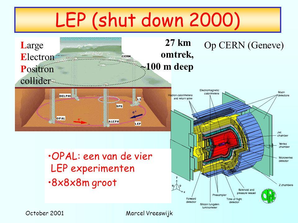 October 2001Marcel Vreeswijk LEP (shut down 2000) Large Electron Positron collider 27 km omtrek, ~100 m deep OPAL: een van de vier LEP experimenten 8x