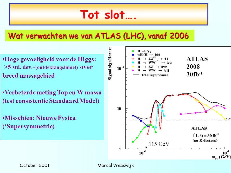 October 2001Marcel Vreeswijk Hoge gevoeligheid voor de Higgs: >5 std. dev.=(ontdekkingslimiet) over breed massagebied Verbeterde meting Top en W massa