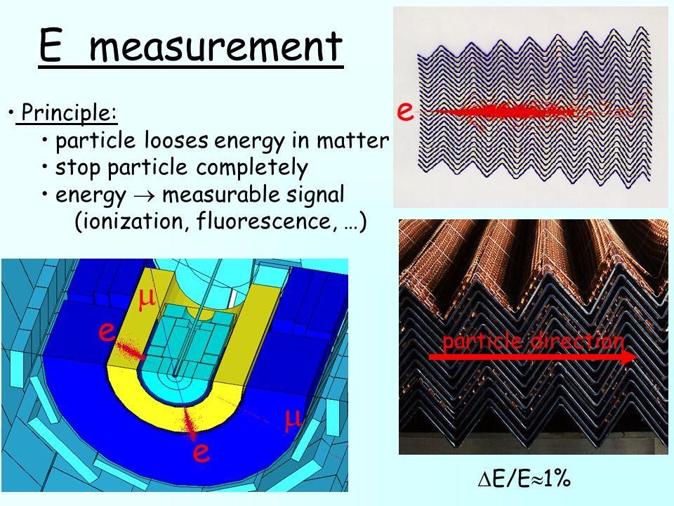  E/E  1% e e   E measurement Principle: particle looses energy in matter stop particle completely energy  measurable signal (ionization, fluoresc