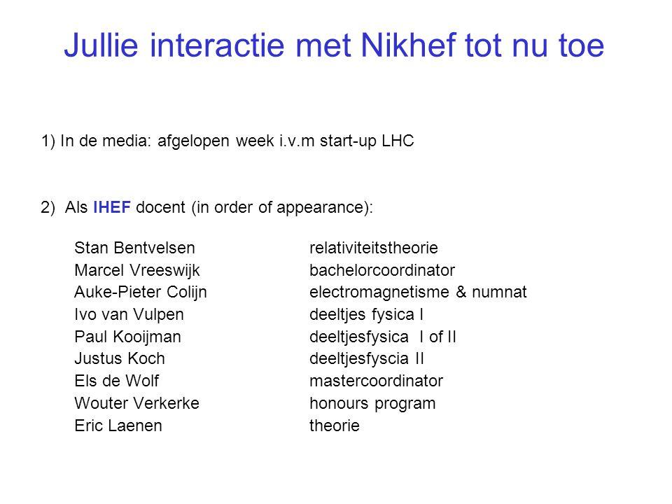 UvA RuN UU VU FOM UT RUG UL UDTU/e Nikhef: coordinatie (astro-)deeltjesfysica onderzoek in Nederland samenwerking met 250 mensen: - 100 technici - 125 wetenschappers (55 promovendi) 7 onderzoeksgroepen Theorie afdeling Electr.