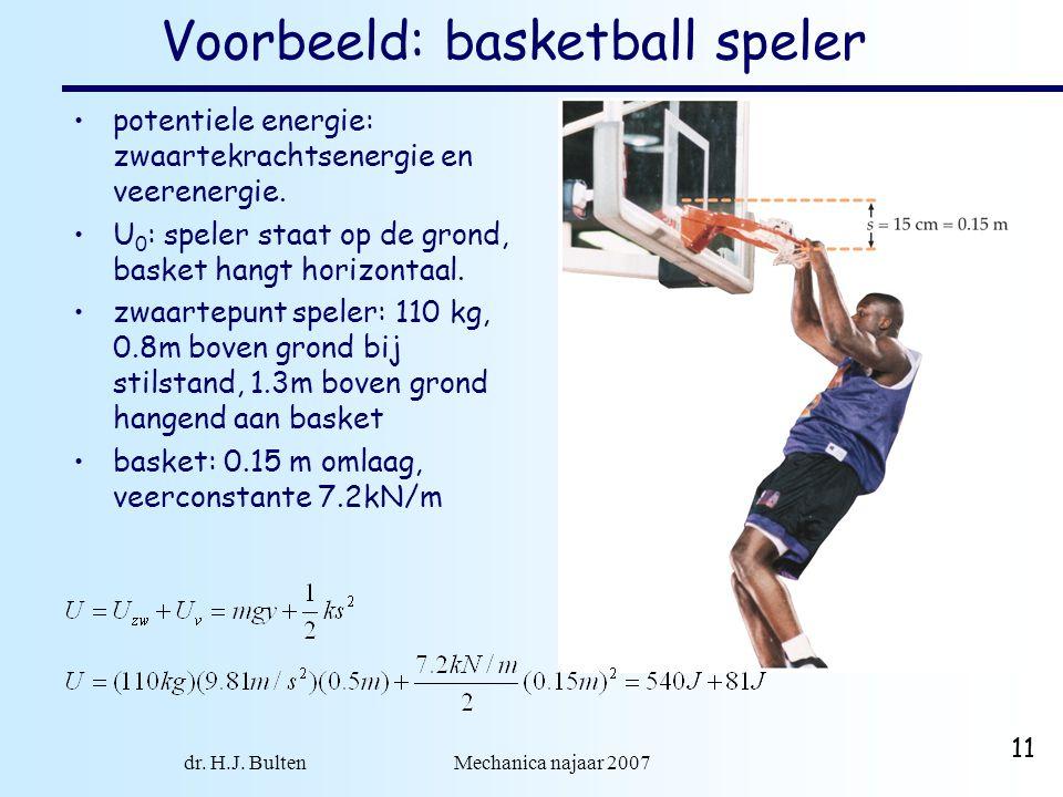 dr. H.J. Bulten Mechanica najaar 2007 11 Voorbeeld: basketball speler potentiele energie: zwaartekrachtsenergie en veerenergie. U 0 : speler staat op