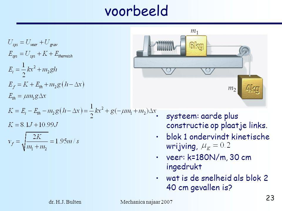 dr. H.J. Bulten Mechanica najaar 2007 23 voorbeeld systeem: aarde plus constructie op plaatje links. blok 1 ondervindt kinetische wrijving, veer: k=18