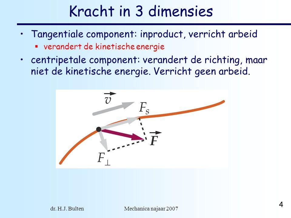 dr. H.J. Bulten Mechanica najaar 2007 4 Kracht in 3 dimensies Tangentiale component: inproduct, verricht arbeid  verandert de kinetische energie cent