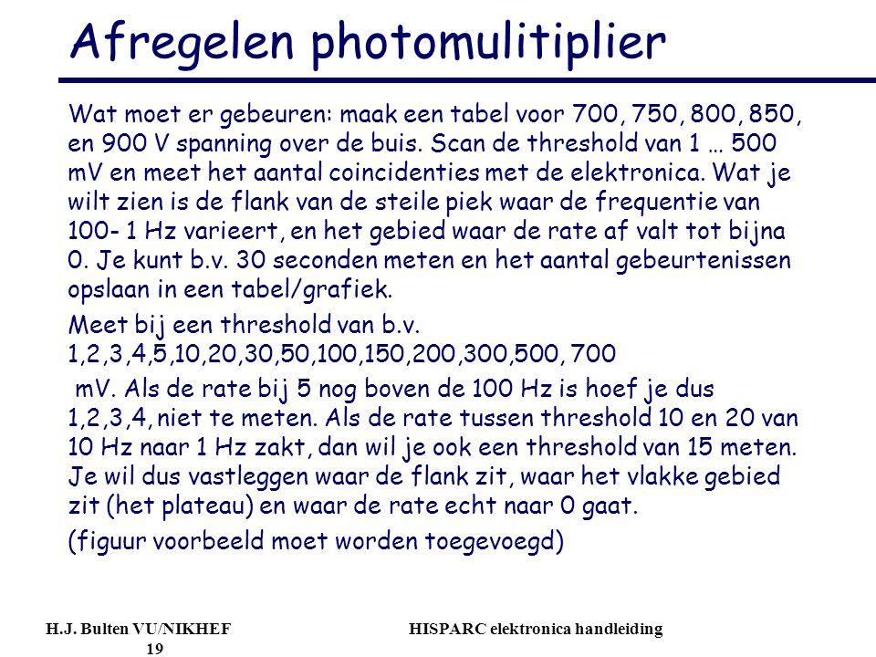 H.J. Bulten VU/NIKHEF HISPARC elektronica handleiding 19 Afregelen photomulitiplier Wat moet er gebeuren: maak een tabel voor 700, 750, 800, 850, en 9