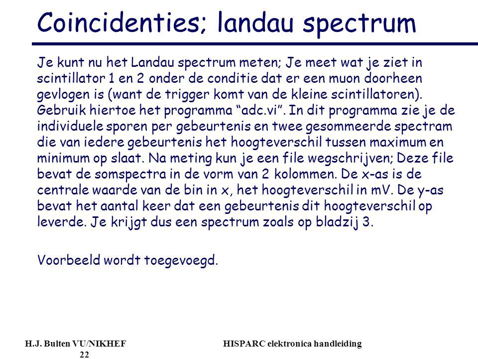 H.J. Bulten VU/NIKHEF HISPARC elektronica handleiding 22 Coincidenties; landau spectrum Je kunt nu het Landau spectrum meten; Je meet wat je ziet in s