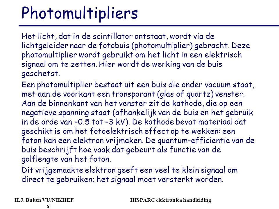 H.J. Bulten VU/NIKHEF HISPARC elektronica handleiding 6 Photomultipliers Het licht, dat in de scintillator ontstaat, wordt via de lichtgeleider naar d