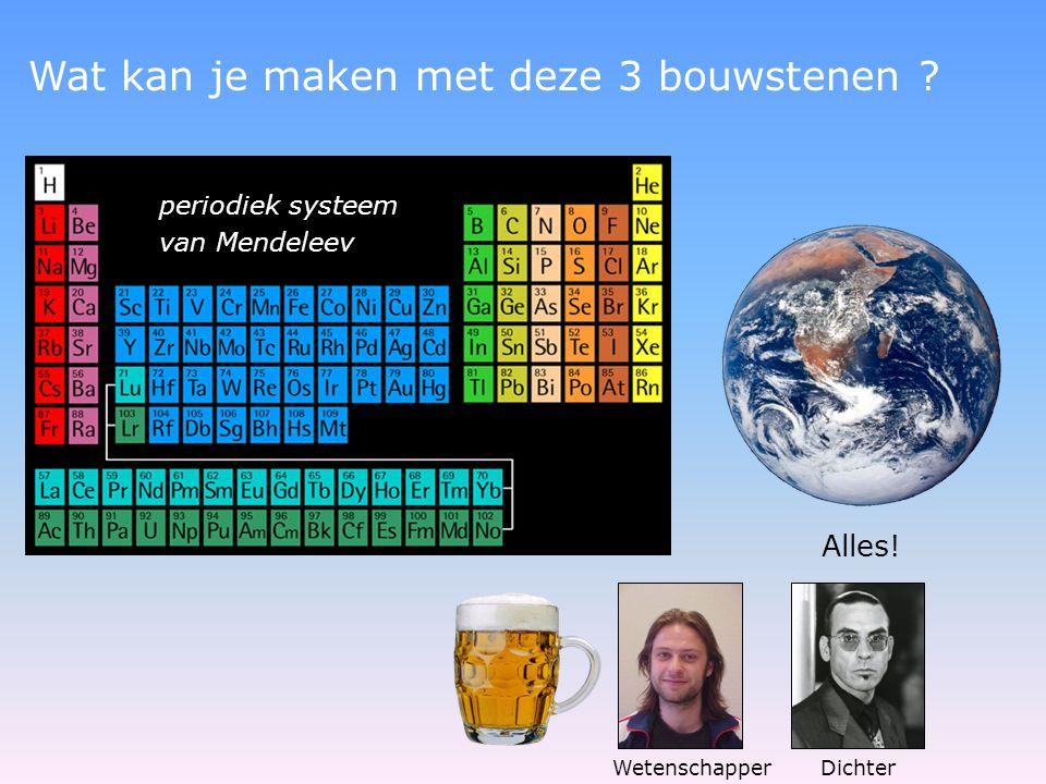 periodiek systeem van Mendeleev Wat kan je maken met deze 3 bouwstenen .