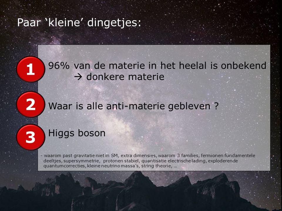 - 96% van de materie in het heelal is onbekend  donkere materie - Waar is alle anti-materie gebleven .