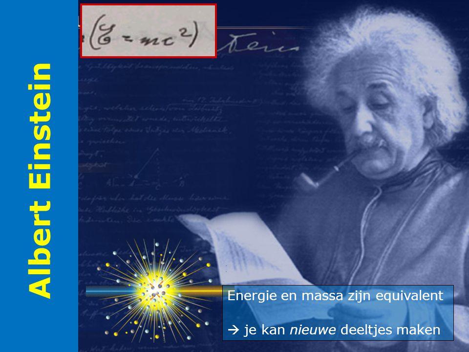 Albert Einstein Energie en massa zijn equivalent  je kan nieuwe deeltjes maken