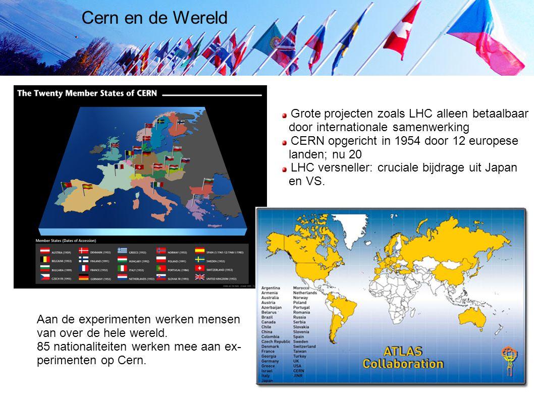 Cern en de Wereld Grote projecten zoals LHC alleen betaalbaar door internationale samenwerking CERN opgericht in 1954 door 12 europese landen; nu 20 L