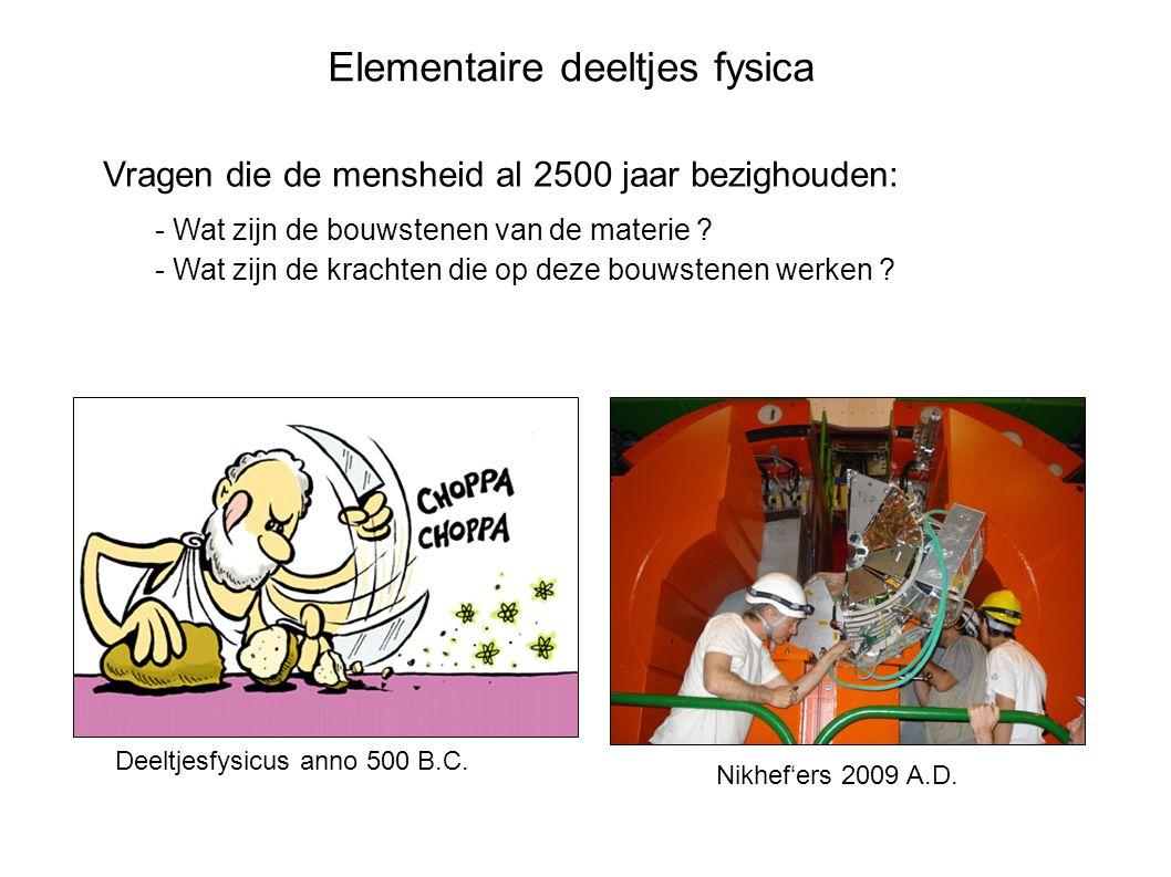 E Elektron: elementair deeltje lading = -1 Atoomkern 10 -15 m 10 -9 m Deeltjesfysica: Waaruit bestaat de wereld?