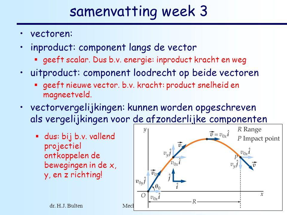 dr. H.J. Bulten Mechanica najaar 2007 1 samenvatting week 3 vectoren: inproduct: component langs de vector  geeft scalar. Dus b.v. energie: inproduct