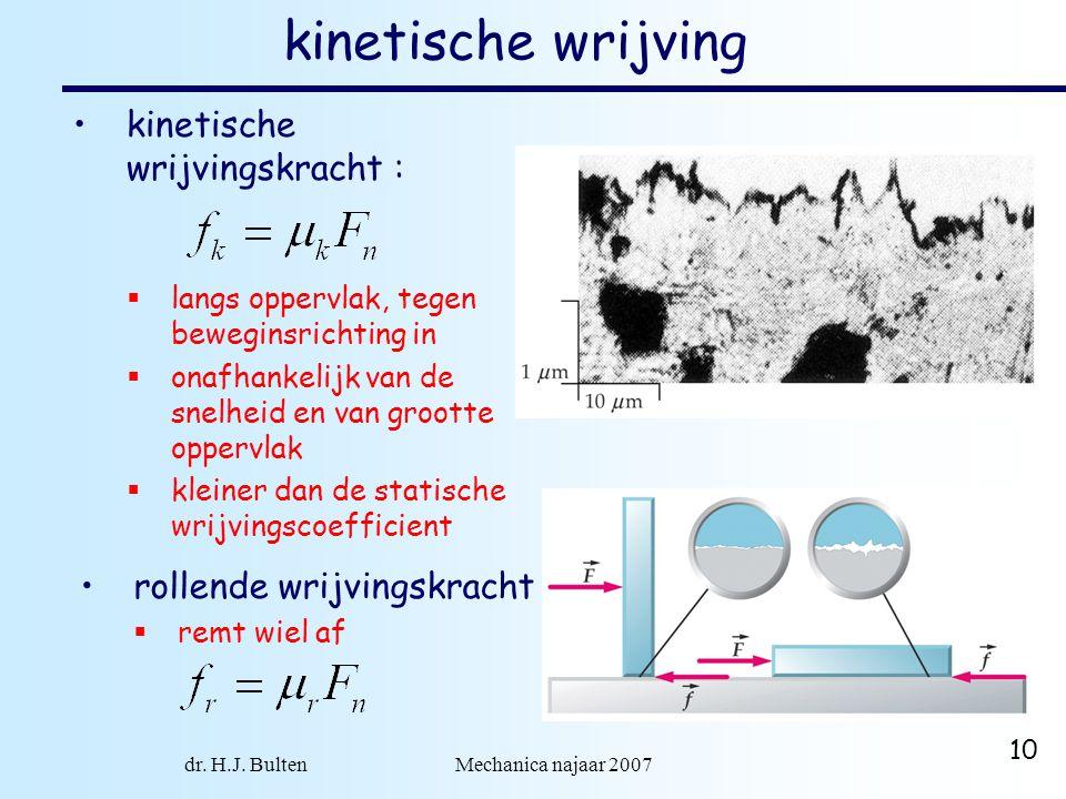 dr. H.J. Bulten Mechanica najaar 2007 10 kinetische wrijving kinetische wrijvingskracht :  langs oppervlak, tegen beweginsrichting in  onafhankelijk