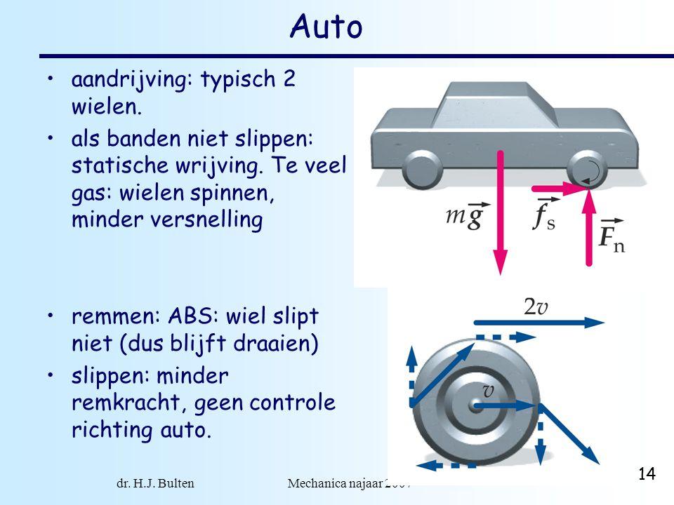 dr. H.J. Bulten Mechanica najaar 2007 14 Auto aandrijving: typisch 2 wielen. als banden niet slippen: statische wrijving. Te veel gas: wielen spinnen,