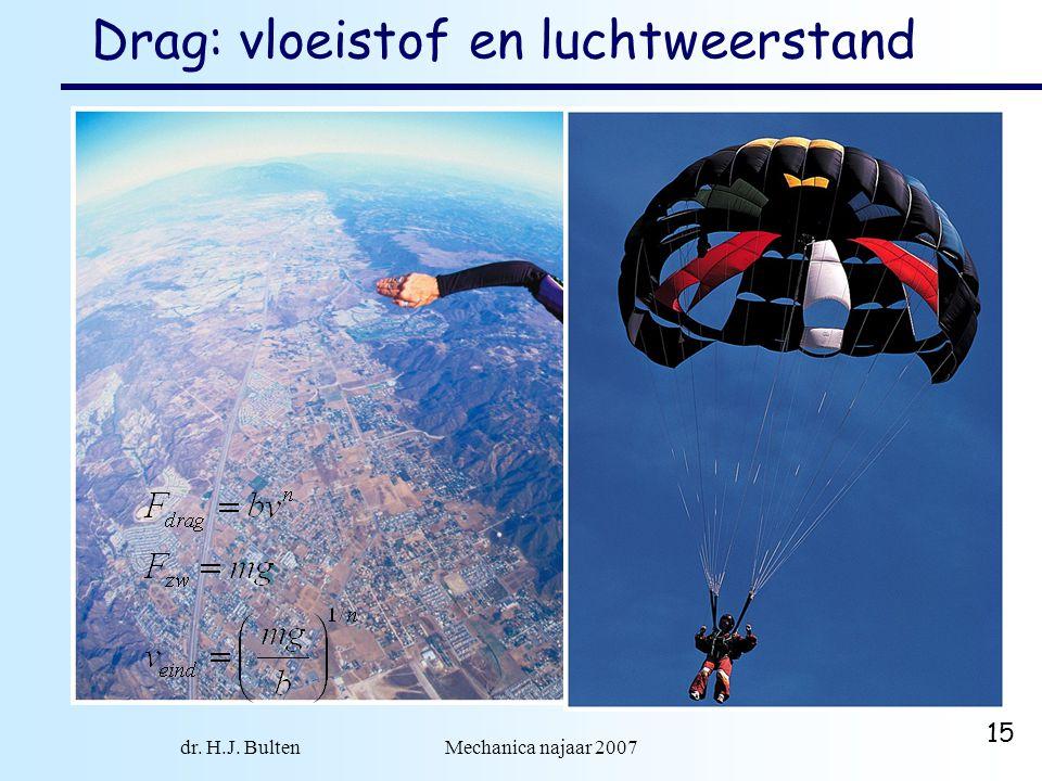 dr. H.J. Bulten Mechanica najaar 2007 15 Drag: vloeistof en luchtweerstand drag:  hangt af van vorm object  hangt af van medium  hangt af van snelh
