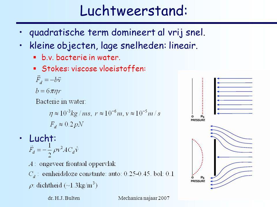 dr. H.J. Bulten Mechanica najaar 2007 16 Luchtweerstand: quadratische term domineert al vrij snel. kleine objecten, lage snelheden: lineair.  b.v. ba
