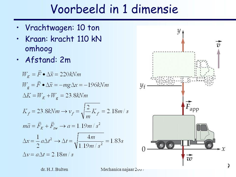 dr. H.J. Bulten Mechanica najaar 2007 19 Voorbeeld in 1 dimensie Vrachtwagen: 10 ton Kraan: kracht 110 kN omhoog Afstand: 2m