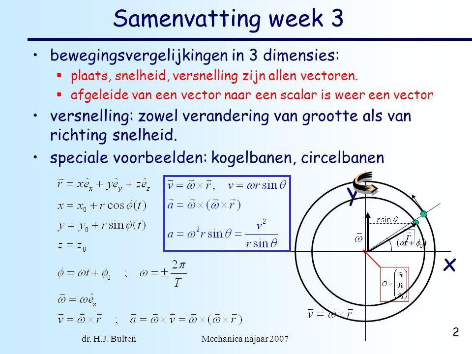 dr. H.J. Bulten Mechanica najaar 2007 2 Samenvatting week 3 bewegingsvergelijkingen in 3 dimensies:  plaats, snelheid, versnelling zijn allen vectore