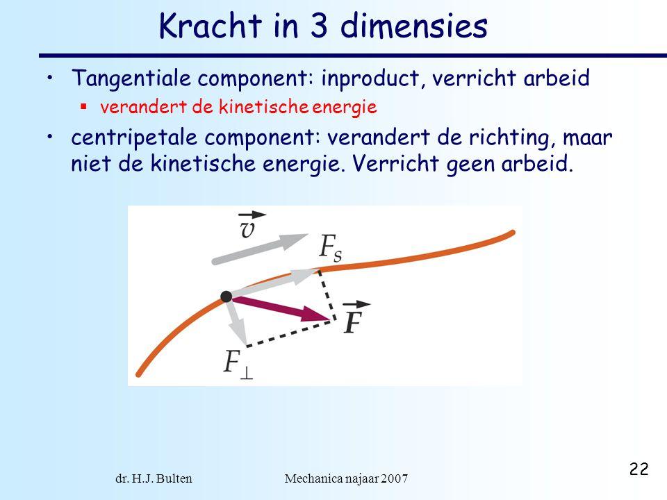 dr. H.J. Bulten Mechanica najaar 2007 22 Kracht in 3 dimensies Tangentiale component: inproduct, verricht arbeid  verandert de kinetische energie cen