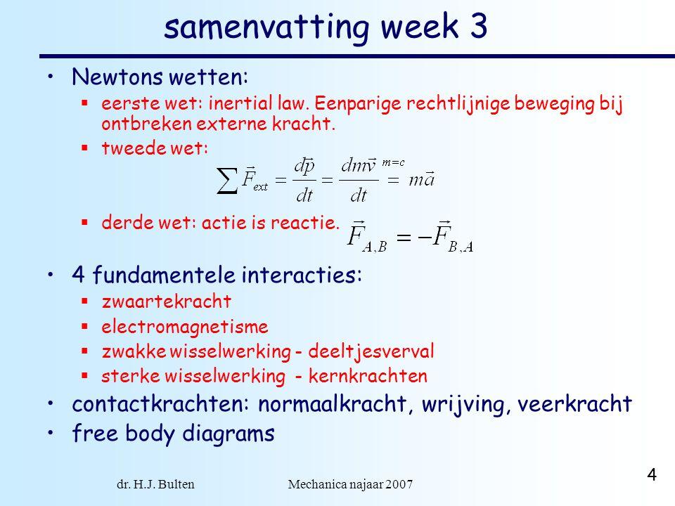 4 samenvatting week 3 Newtons wetten:  eerste wet: inertial law. Eenparige rechtlijnige beweging bij ontbreken externe kracht.  tweede wet:  derde