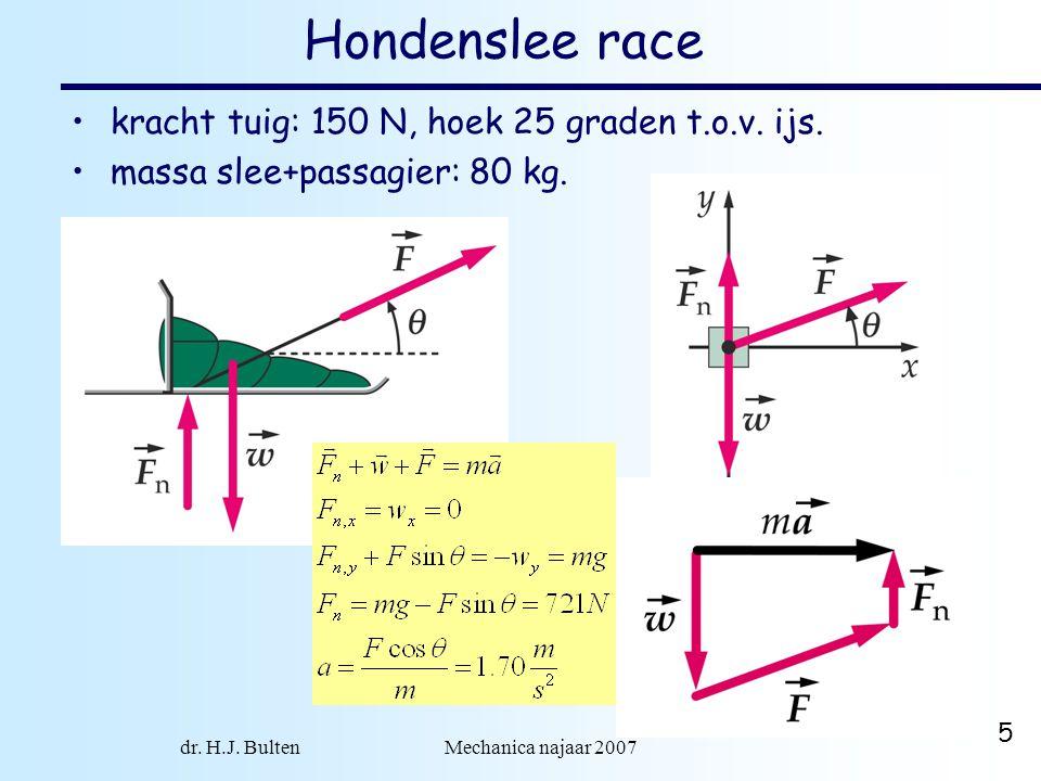 dr. H.J. Bulten Mechanica najaar 2007 5 Hondenslee race kracht tuig: 150 N, hoek 25 graden t.o.v. ijs. massa slee+passagier: 80 kg.