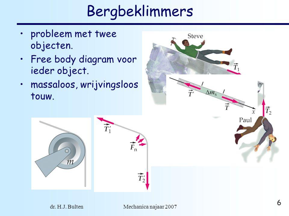 dr. H.J. Bulten Mechanica najaar 2007 6 Bergbeklimmers probleem met twee objecten. Free body diagram voor ieder object. massaloos, wrijvingsloos touw.