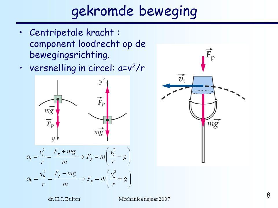 dr. H.J. Bulten Mechanica najaar 2007 8 gekromde beweging Centripetale kracht : component loodrecht op de bewegingsrichting. versnelling in circel: a=