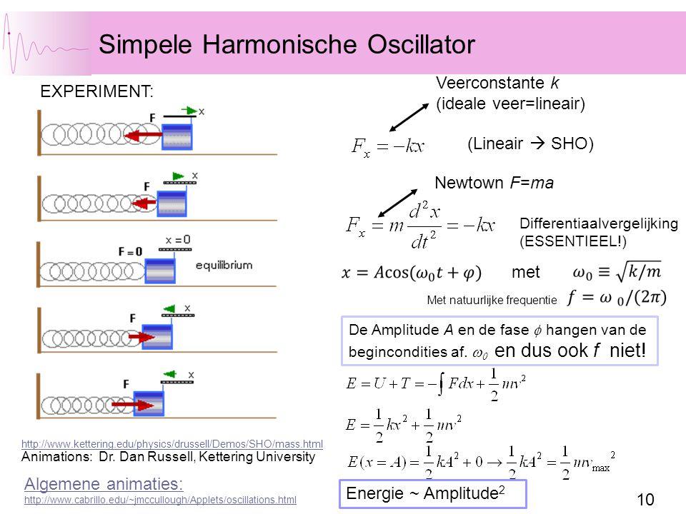 10 Simpele Harmonische Oscillator (Lineair  SHO) Veerconstante k (ideale veer=lineair) EXPERIMENT: Newtown F=ma Differentiaalvergelijking (ESSENTIEEL