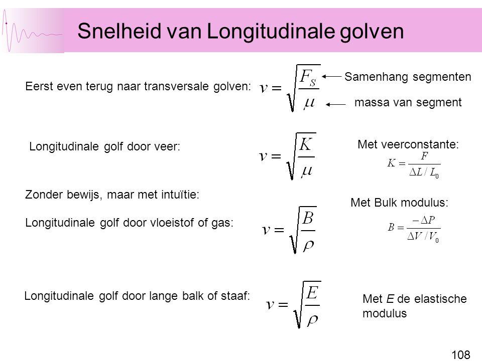 108 Snelheid van Longitudinale golven Eerst even terug naar transversale golven: Samenhang segmenten massa van segment Zonder bewijs, maar met intuïti