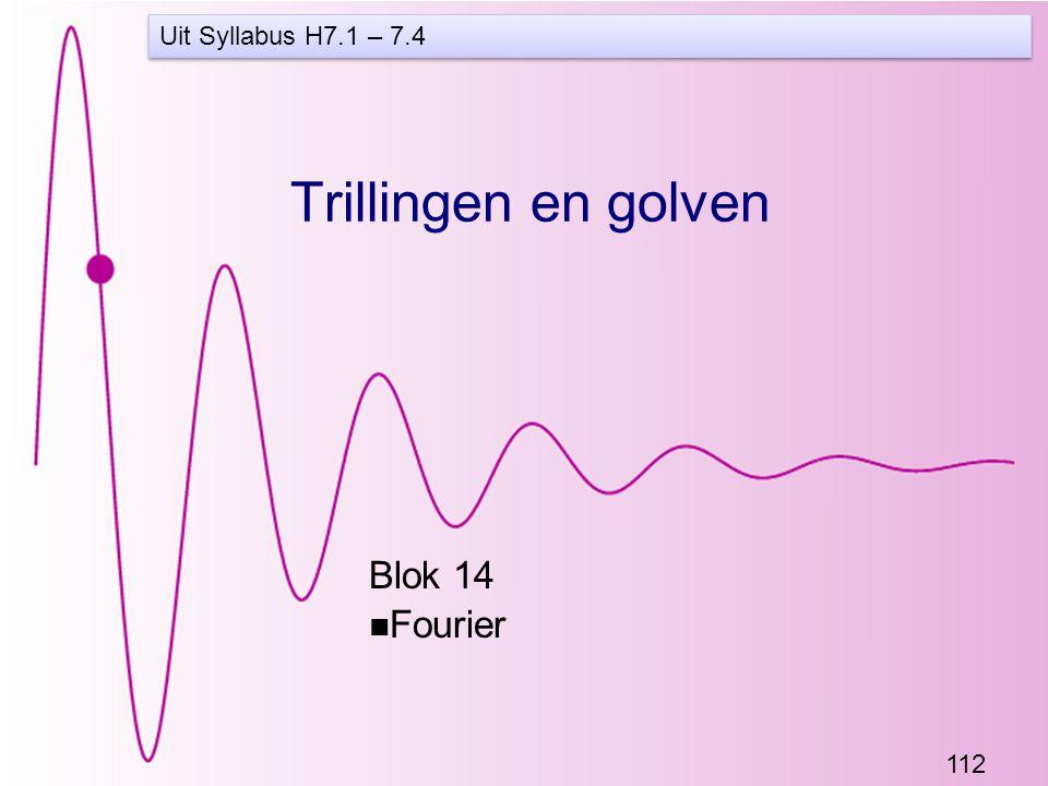 112 Trillingen en golven Blok 14 Fourier Uit Syllabus H7.1 – 7.4