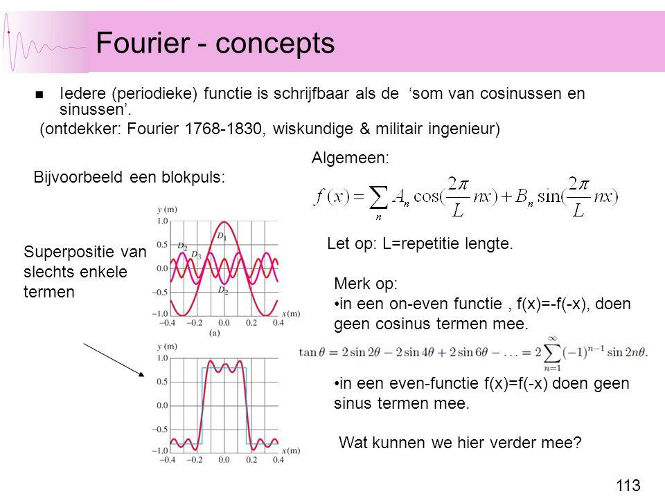 113 Fourier - concepts Iedere (periodieke) functie is schrijfbaar als de 'som van cosinussen en sinussen'. (ontdekker: Fourier 1768-1830, wiskundige &