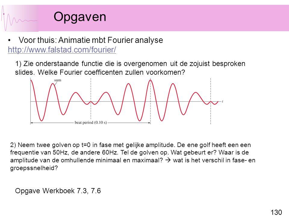 130 Opgaven Voor thuis: Animatie mbt Fourier analyse http://www.falstad.com/fourier/ 1) Zie onderstaande functie die is overgenomen uit de zojuist bes