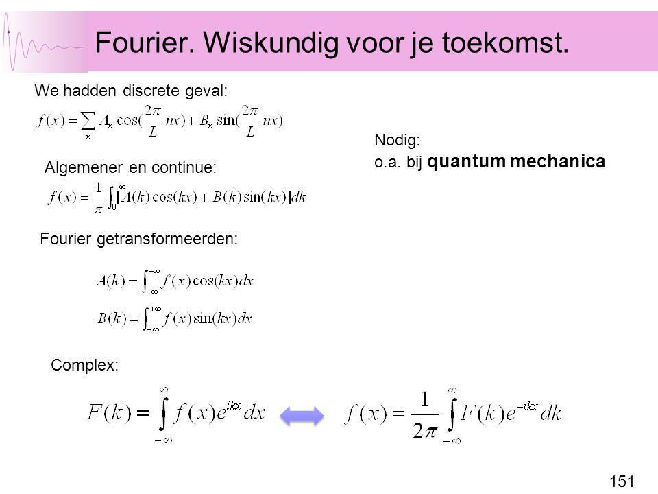 151 Fourier. Wiskundig voor je toekomst. We hadden discrete geval: Fourier getransformeerden: Algemener en continue: Complex: Nodig: o.a. bij quantum
