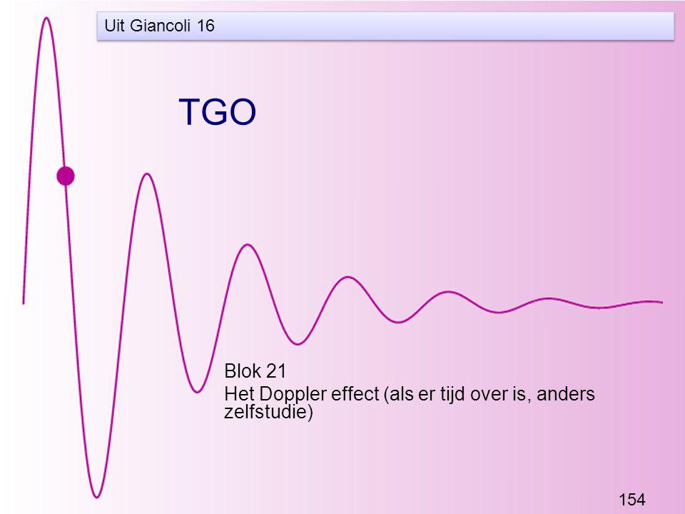 154 TGO Blok 21 Het Doppler effect (als er tijd over is, anders zelfstudie) Uit Giancoli 16