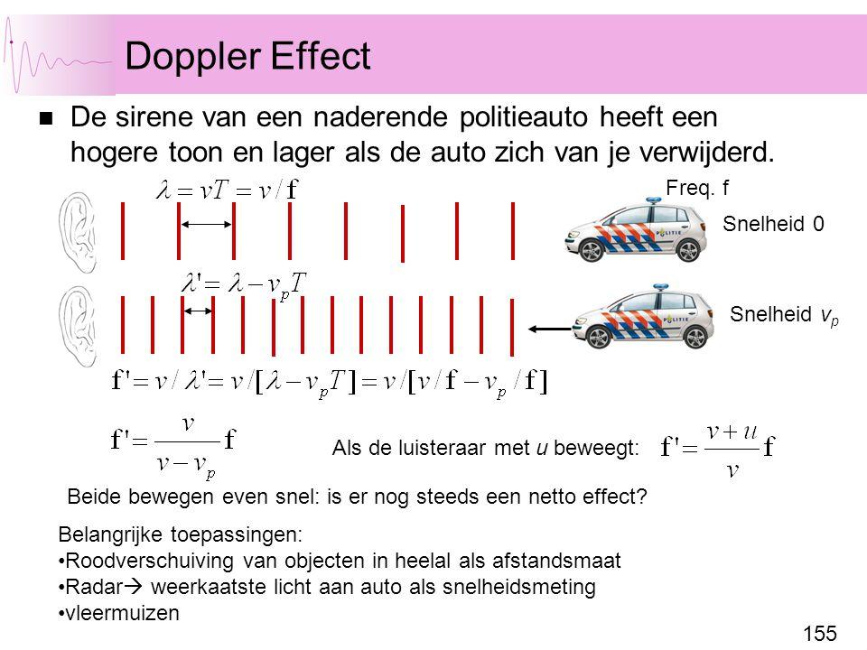 155 Doppler Effect De sirene van een naderende politieauto heeft een hogere toon en lager als de auto zich van je verwijderd. Snelheid 0 Snelheid v p